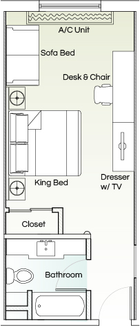 The Kenilworth Executive, One King Bed Room room plan